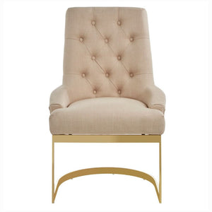 Massima Gold and Natural Linen Dining Chair - Dining Chairs
