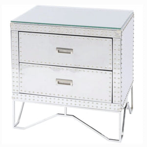 Micah Silver Steel Two Drawer Bedside Table - Bedside Table