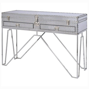 Micah Silver Steel Two Drawer Console Table - Console Table