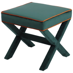 Miles Green & Burnt Orange Velvet Stool - Stool