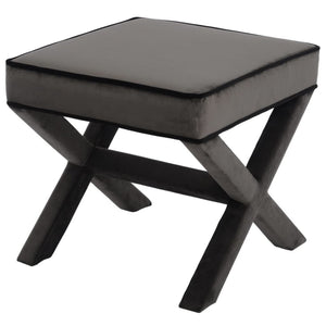 Miles Grey & Black Velvet Stool - Stool