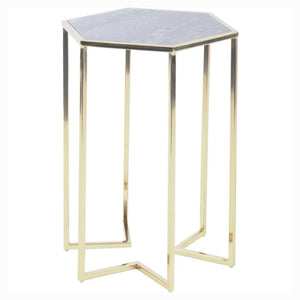 Milo Grey Marble and Gold Side Table - side table
