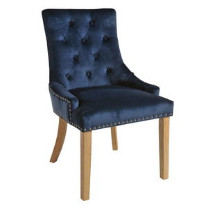 Mirabelle Blue Velvet Dining Chairs with Natural Wooden Legs (Set of 2) - Dining Chairs