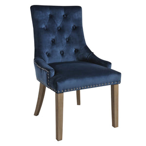 Mirabelle Blue Velvet Dining Chairs with Vintage Wooden Legs (Set of 2) - Dining Chairs