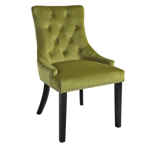 Mirabelle Green Velvet Dining Chairs with Black Wooden Legs (Set of 2) - Dining Chairs