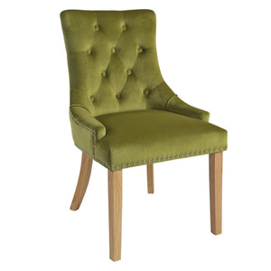 Mirabelle Green Velvet Dining Chairs with Natural Wooden Legs (Set of 2) - Dining Chairs