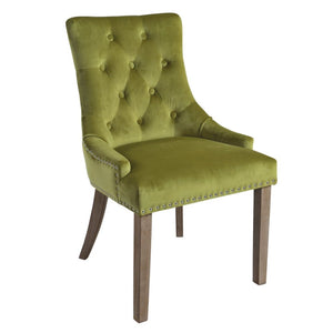 Mirabelle Green Velvet Dining Chairs with Vintage Wooden Legs (Set of 2) - Dining Chairs