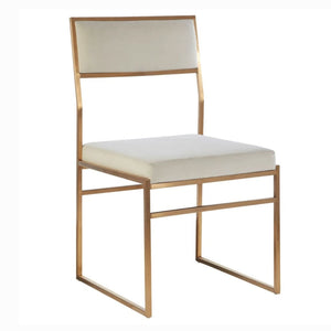 Monte Brushed Gold and White Velvet Dining Chair - Dining Chairs