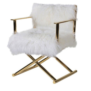 Naomi Mongolian Sheep Fur Director Chair - Accent Chair
