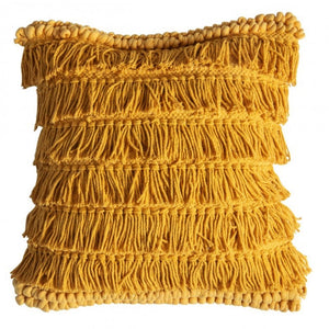 Ochre Fringed Cushion - Cushion