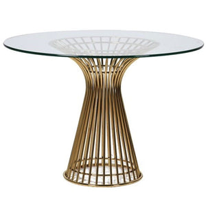 Orelia Gold & Glass Round Dining Table - Dining Table
