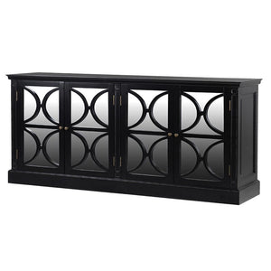 Parker Large Mirrored Sideboard - Black Finish - sideboard