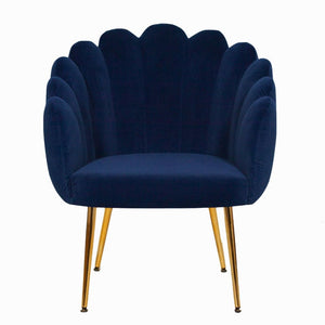 Pearl Scalloped Midnight Blue Velvet Chair - Accent Chair