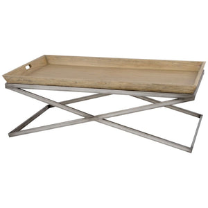 Peyton Mindi Wood and Silver Iron Coffee Table - side table