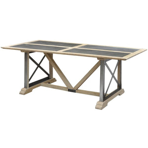 Phoenix Mindi Wood and Zinc Top Dining Table - Dining Table