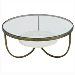 Porter White Marble And Antique Gold Iron Coffee Table - Coffee Table