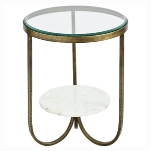 Porter White Marble And Antique Gold Iron Side Table - side table