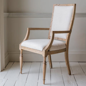 Quinn Natural Linen Dining Armchair - Dining Chairs