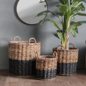 Rattan Baskets Black and Natural - Set of 3 - Baskets