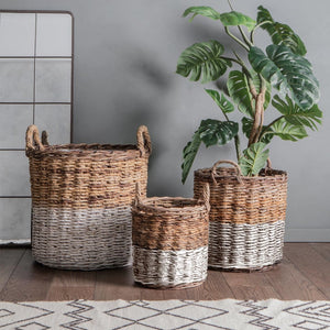 Rattan Baskets White and Natural - Set of 3 - Baskets