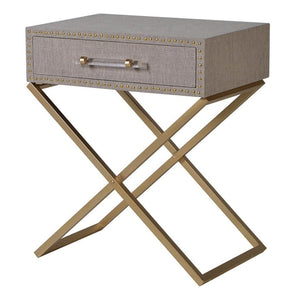 Riley Gold Cross Leg & Linen Side Table - side table