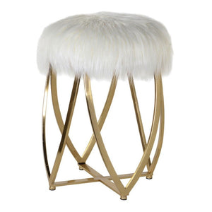 Sadie Gold & White Faux Fur Round Stool - Footstool