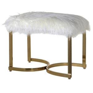 Sadie Gold & White Faux Fur Stool - Footstool