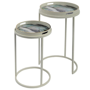 Sana Off-White and Blue Marble Effect Nest of Tray Side Table - side table
