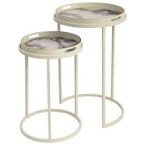 Sana Off-White and Marble Effect Nest of Tray Side Table - side table