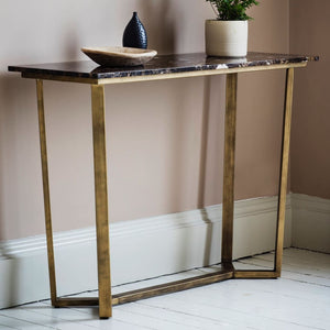 Savoy Bronze & Brown Marble Console Table - Console Table