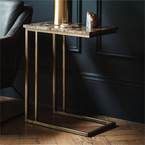 Savoy Bronze & Brown Marble Supper Table - side table