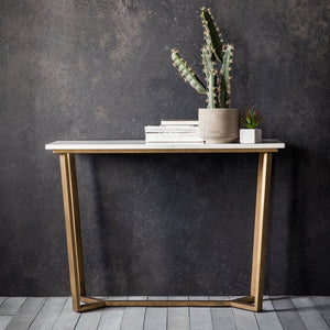 Savoy Gold & White Marble Console Table - Console Table
