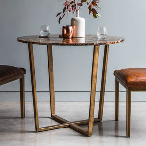 Savoy Round Bronze & Brown Marble Dining Table - Dining Table