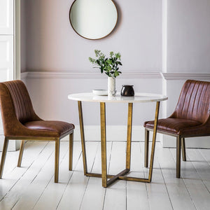 Savoy Round Gold & White Marble Dining Table - Dining Table