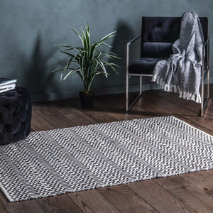 Sirius Geometric Black & Cream Rug - Rug