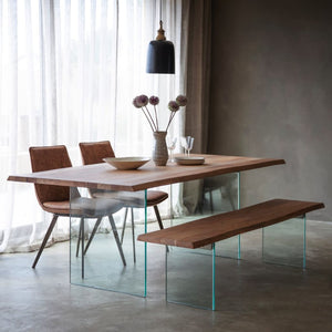 Skylar Glass & Acacia Wood Dining Table - Dining Table
