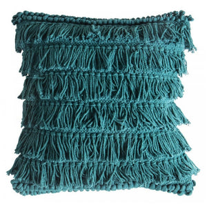 Teal Fringed Cushion - Cushion