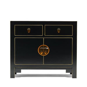 The Nine Schools Qing Black and Gilt Small Sideboard - sideboard