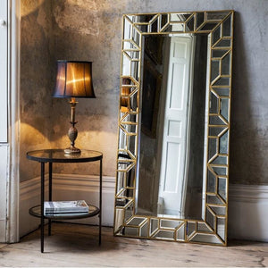 Titiana Antique Gold Leaner Mirror - Floor Mirror