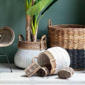 Two White Dipped Bamboo Baskets - Baskets