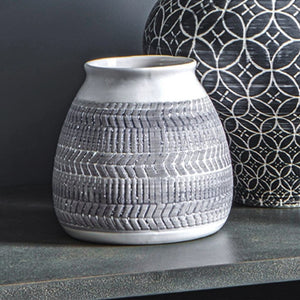 White & Grey Ceramic Vase (Set of 2) - Vase