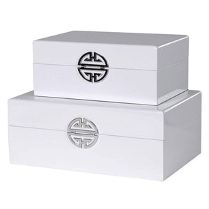 White High-Gloss Wooden Boxes - Set of 2 - Decorative Box