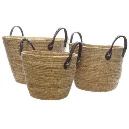 Leather Handle Baskets Set of 3