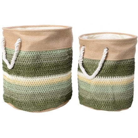 Set of 2 Green Tone Woven Baskets