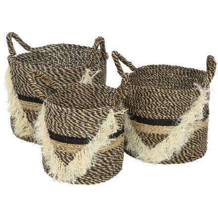Woven Seagrass Baskets With Handles Set of 3