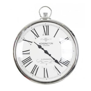 Large Silver Pocket Watch Clock