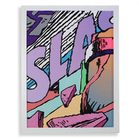 Snack Braff 'Slash' Painting- Purple - Comic Wall Canvas With Frame