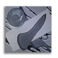 Snack Braff 'Where Does This End' Painting - Grey - Abstract Artwork