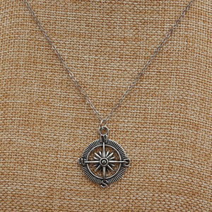 Silver Plated Compass Necklace