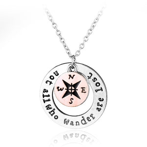 """Not All Who Wander Are Lost"" Compass Necklace & Pendant"